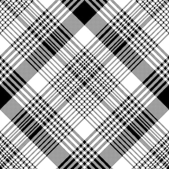 Zwart-wit stof textuur check tartan naadloze patroon