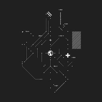 Zwart-wit technisch ontwerp met aardbol in het midden