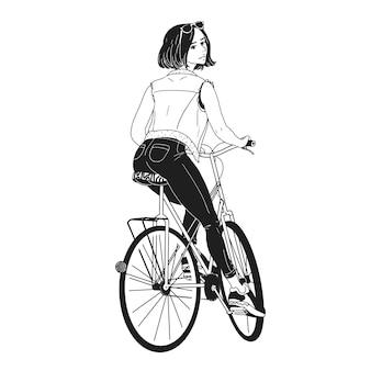 Zwart-wit tekening van prachtige jonge vrouw fietsten. meisje gekleed in stijlvolle kleding zittend op de fiets hand getekend met zwarte contourlijnen op witte achtergrond. achteraanzicht. vector illustratie.