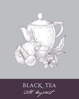 Zwart-wit tekening van theepot, kopje, theeblaadjes, bloemen en vers bergamotfruit op grijs