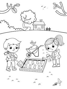 Zwart-wit tekening van twee kinderen die tuinieren kleurplaat voor kinderen vectorillustratie