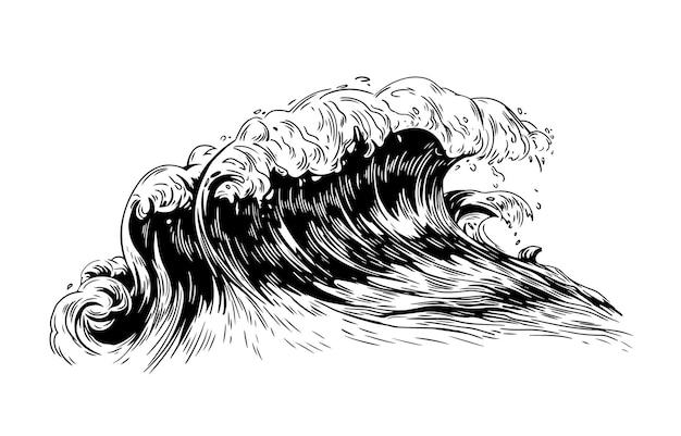 Zwart-wit tekening van zee- of oceaangolf met schuimende kuif
