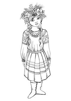 Zwart wit tekenmeisje in klederdracht