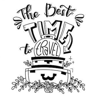 Zwart-wit tijd om te reizen doodle illustratie