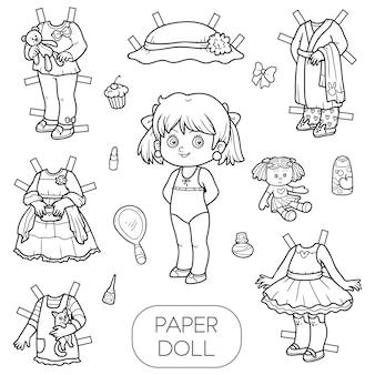 Zwart-wit vector set, schattige papieren pop en kleding