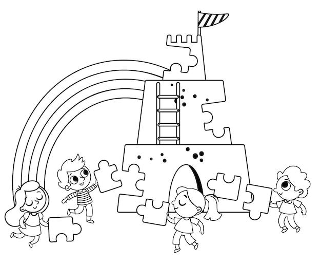 Zwart-wit vectorillustratie groep kinderen die hun krachten bundelen om een kasteel te bouwen