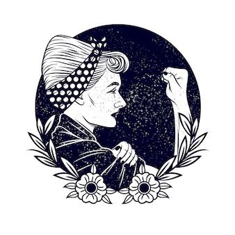 Zwart-wit vectorillustratie over feminisme en vrouwenrechten. tattoo met een vrouw in vintage stijl. vrouw met een pleister op zijn hoofd toont een vuist in protest