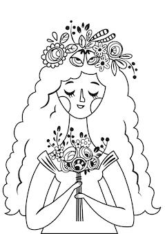 Zwart-wit vectorillustratie van een jonge dame en bloemen