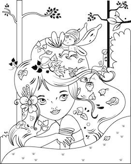 Zwart-wit vectorillustratie van een sprookjesmeisje en haar kleine vriend