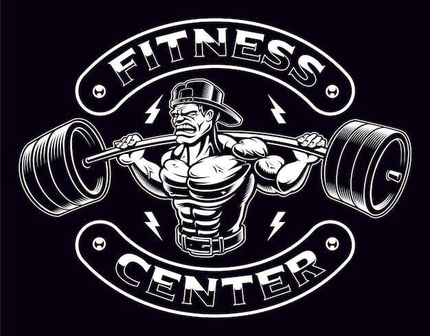 Zwart-wit vintage badge van een bodybuilder met barbell op de donkere achtergrond.