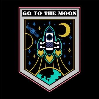 Zwart-wit vintage grafische sticker patch pin print voor kleding t-shirt poster met zeer snelle raket die omhoog van de aarde vliegen voor open ruimte sterren moon mars.
