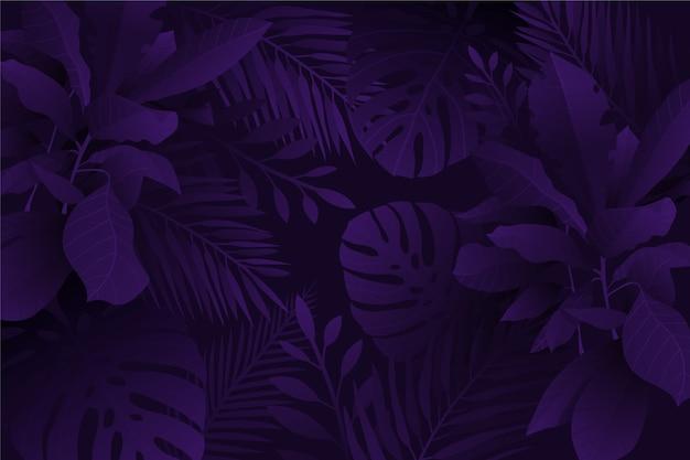 Zwart-wit violette realistische donkere tropische bladerenachtergrond
