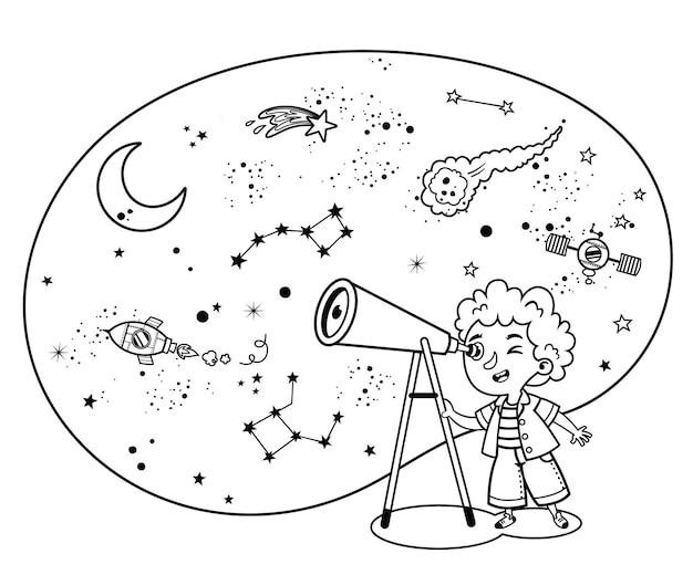 Zwart-wit wetenschap liefhebbend kind observeert ruimte geïsoleerde vectorillustratie
