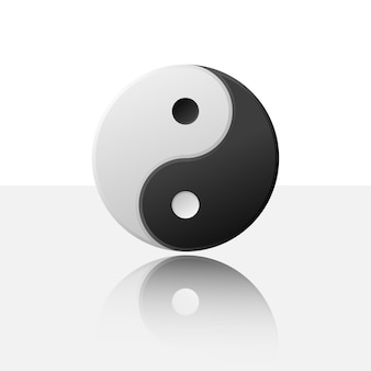 Zwart-wit yin en yang geïsoleerd op lichte achtergrond