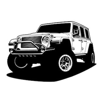 Zwart-witte autoillustratie voor conceptueel ontwerp