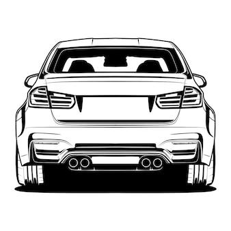 Zwart-witte autoillustratie