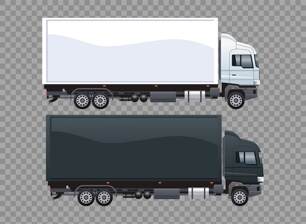 Zwart-witte bestelwagens