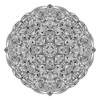Zwart-witte bloemen etnische mandala, op witte achtergrond