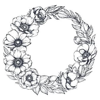 Zwart-witte bloemenkrans van handgetekende anemoonbloemen, knoppen en bladeren