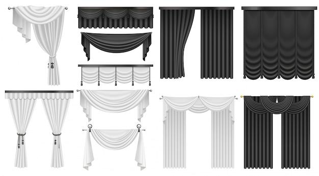 Zwart-witte fluwelen zijden gordijnen en gordijnen ingesteld. interieur realistisch luxe gordijnen decoratie ontwerp.