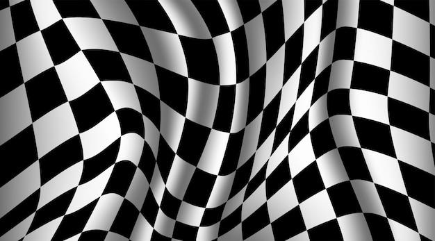Zwart-witte geruite vlagachtergrond.