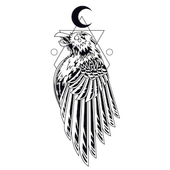Zwart-witte kraai tattoo illustratie