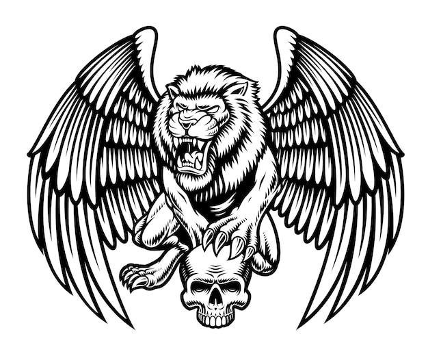 Zwart-witte leeuw met vleugels houdt een schedel vast