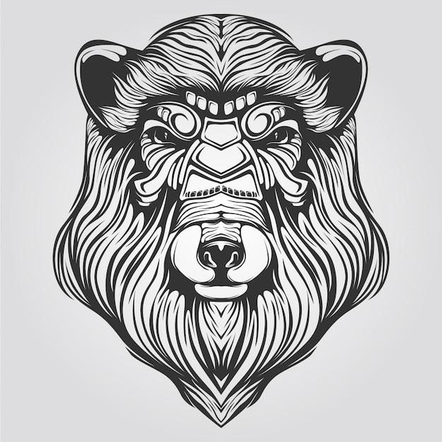 Zwart-witte lijnkunst van beer