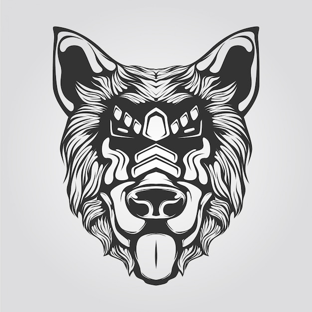 Zwart-witte lijnkunst van hond