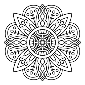 Zwart-witte mandala-tekening