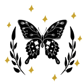Zwart-witte mystic moon moth linosnede stijl. illustratie hand getrokken