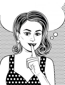 Zwart-witte poster in komische kunststijl van een aantrekkelijk meisje houdt haar wijsvinger bij haar lippen. mooie retro-stijl vrouw wil een geheim bewaren.