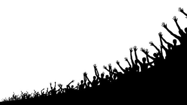 Zwart-witte silhouetten van gelukkige en blije mensen springen. vectorillustratie. eps10