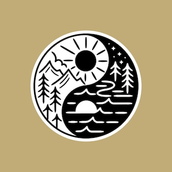Zwart-witte sticker, met schene blend in de yin yang-vorm.