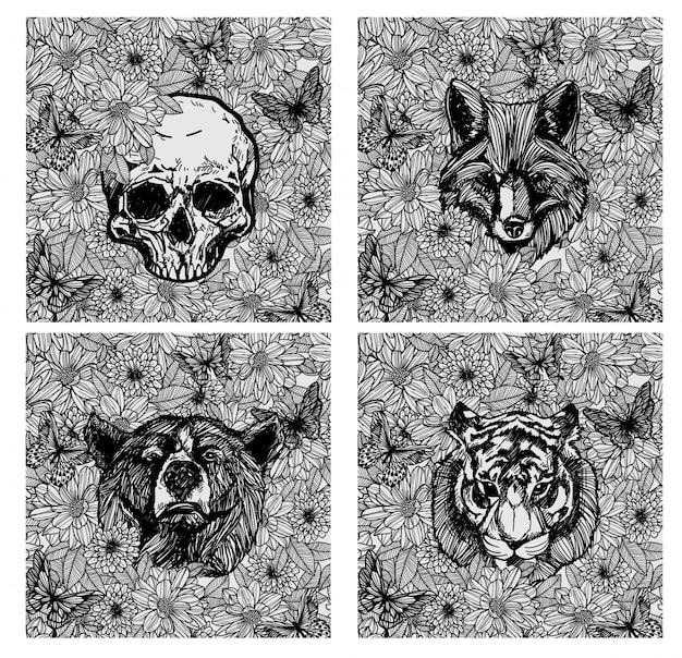 Zwart-witte tatoeage van dierenhandtekening en schets