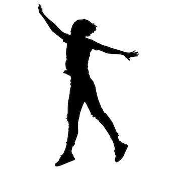 Zwart-witte vector vrouwelijke silhouetten voor het knippen van springende mensenactiviteit en vreugde