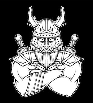 Zwart witte viking krijger illustratie. premium vector