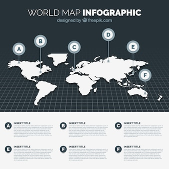 Zwart-witte wereldkaart infographic