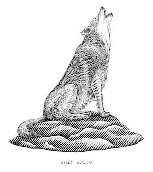 Zwart-witte wolf die in gravurestijl huilt