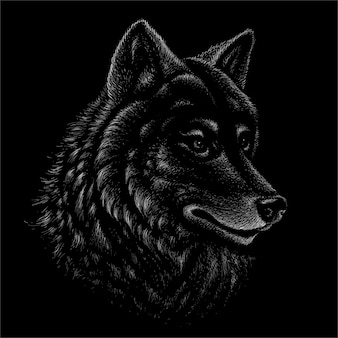 Zwart-witte wolfsillustratie