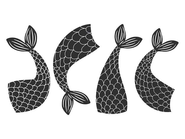 Zwart-witte zeemeerminnen staarten collectie