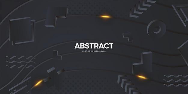 Zwarte 3d abstracte memphis-achtergrond