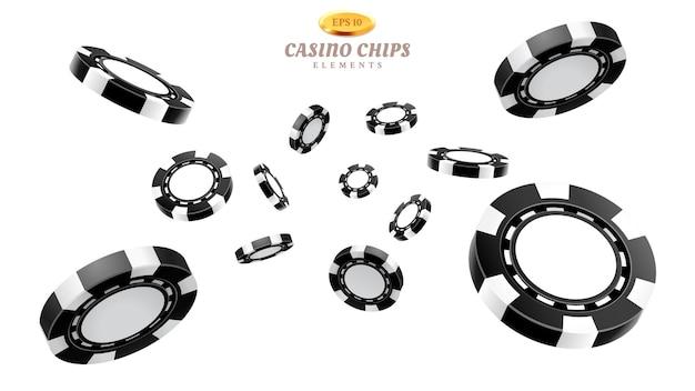 Zwarte 3d-casinofiches of vliegende realistische tokens om te gokken