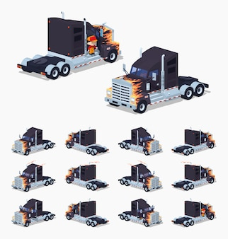 Zwarte 3d lowpoly isometrische zware vrachtwagen