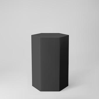 Zwarte 3d zeshoek podium met perspectief geïsoleerd op een grijze achtergrond. productpodiummodel in zeshoekige vorm, pilaar, leeg museumpodium of voetstuk. 3d geometrische basisvorm vectorillustratie.