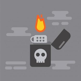 Zwarte aansteker bedacht van schedel