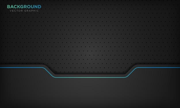 Zwarte abstracte achtergrond met blauwe lijn verloop decoratie.