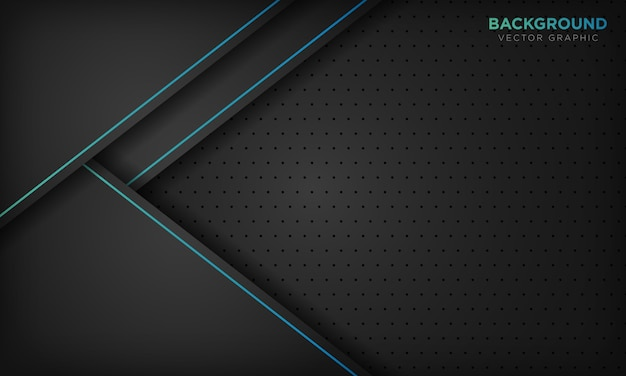 Zwarte abstracte achtergrond met blauwe lijndecoratie. modern technologie concept.