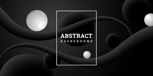 Zwarte abstracte achtergrond met bollen in realistische stijl