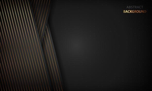 Zwarte abstracte achtergrond met gouden lijnen. modern luxe concept.